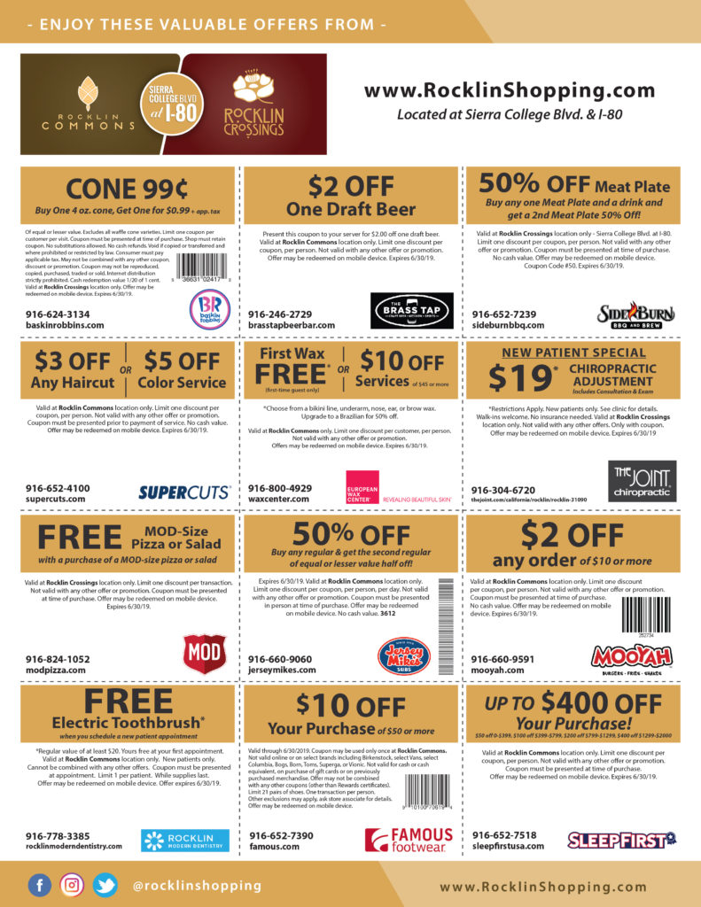 Rocklin Commons & Rocklin Crossings online coupons valid January - June 2019