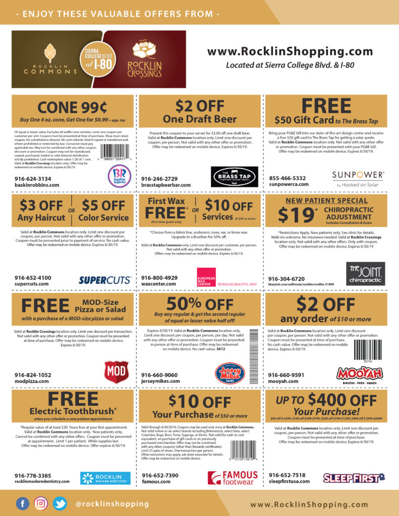 Rocklin Commons & Rocklin Crossings Online Coupons Valid 6-30-19 - Page 1